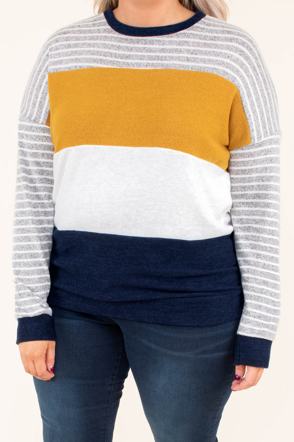 shirt, long sleeve, short, comfy, gray, white, mustard, navy, stripes, colorblock, fall, winter