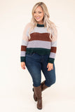 sweater, long sleeve, cropped, wavy hem, soft, comfy, green, blush, gray, brown, lavender, colorblock, fall, winter