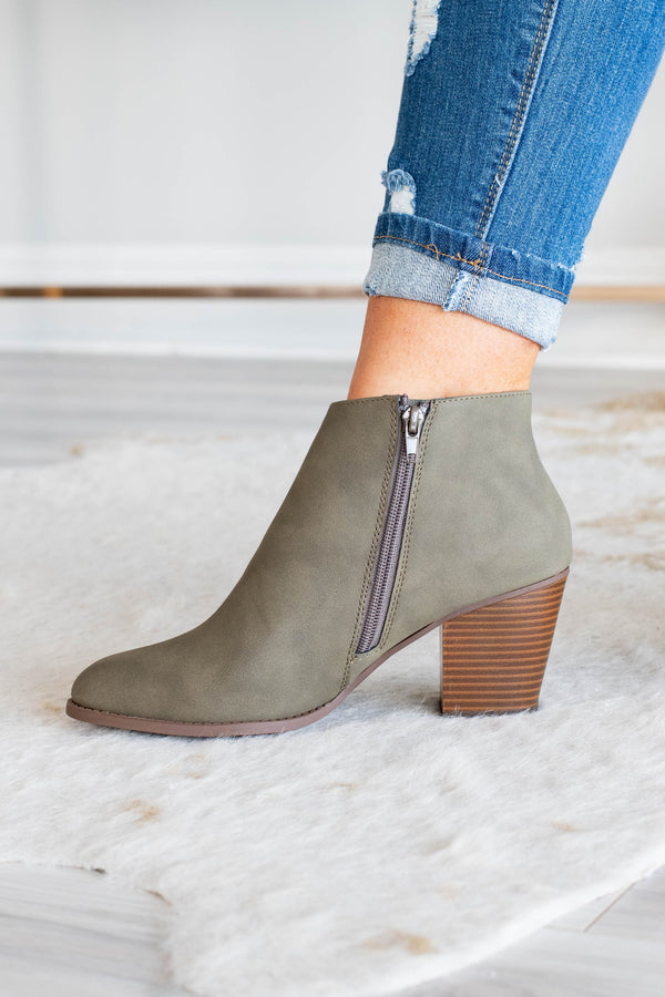 shoes, booties, side zip, heeled, olive, fall, winter, block heel