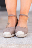 wedges, ankle strap, closed toe, taupe, scallop edge, open heel