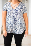shirt, short sleeve, vneck, crisscross neck, curved hem, navy, white, snakeskin, comfy