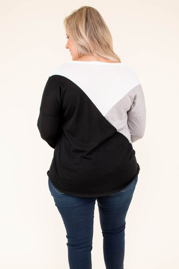 shirt, long sleeve, curved hem, loose, gray, white, black, colorblock, comfy, fall, winter