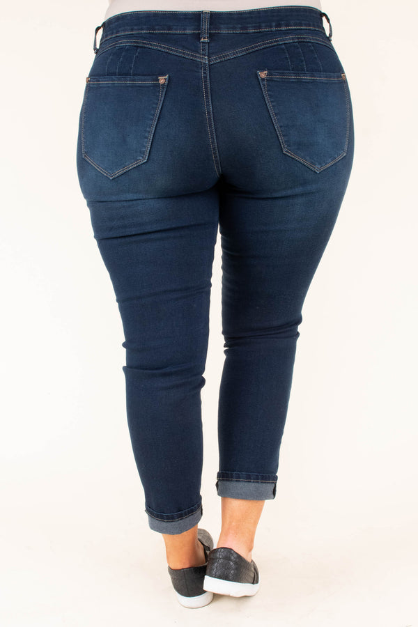 jeggings, long, skinny, dark blue, faded
