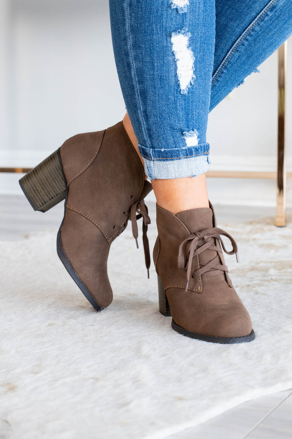 shoes, booties, lace up, heeled, brown, solid