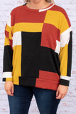 shirt, long sleeve, loose, comfy, mustard, black, red, white, colorblock, fall, winter