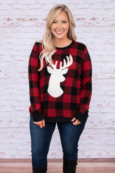 shirt, long sleeve, short, red, black, plaid, graphic, reindeer silhouette, comfy, winter