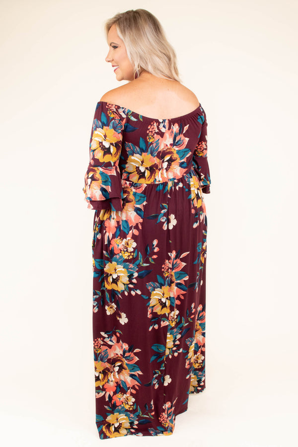 dress, off the shoulder, burgundy, wine, floral print, three quarter sleeve, maxi
