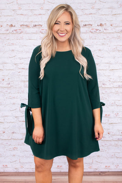 dress, short, three quarter sleeve, tie cuffs, flowy, green, comfy, fall, winter