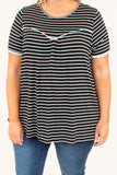 shirt, short sleeve, flowy, pleated top, black, white, striped, white trim, comfy