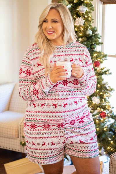 shirt, long sleeve, short, loungewear, white, red, green, chevron, reindeer, poinsettias, comfy, christmas, winter