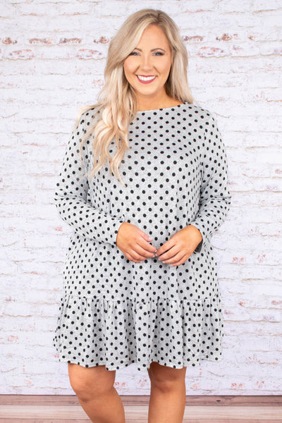 dress, short, long sleeve, flowy, ruffle, gray, polka dots, black, comfy, fall, winter
