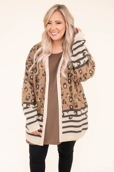 cardigan, long sleeve, long, mocha, tan, charcoal, leopard, stripes, colorblock, comfy, outerwear, fall, winter