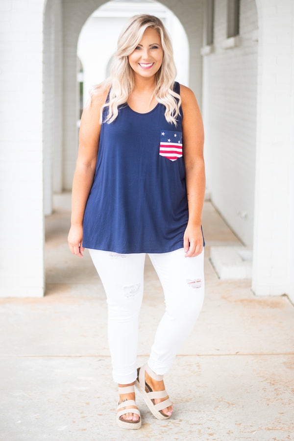 Red, White, And Beautiful Tank, Navy