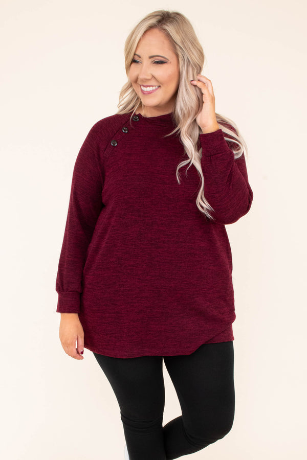 tunic, long sleeve, hood, button detail, burgundy, heathered, comfy, fall, winter