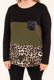 shirt, long sleeve, curved hem, chest pocket, glitter pocket, black, olive, brown, leopard, colorblock, comfy, fall, winter
