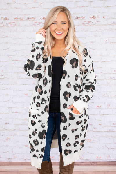 top, cardigan, ivory, leopard print, long sleeve, pockets