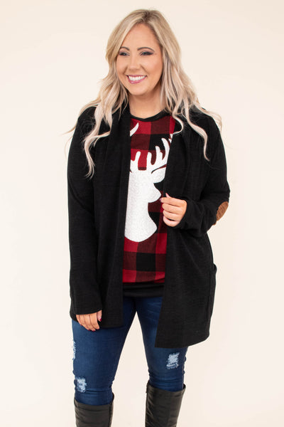 cardigan, long sleeve, elbow patch, flowy, long, black, comfy, pockets