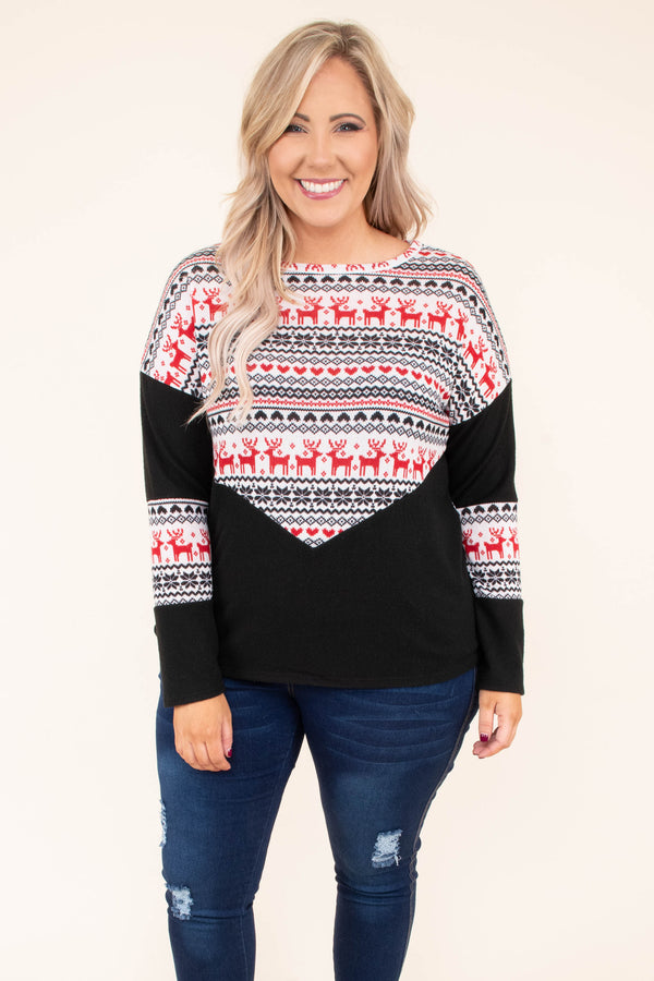 shirt, long sleeve, short, black, red, white, reindeer pattern, colorblock, comfy, winter