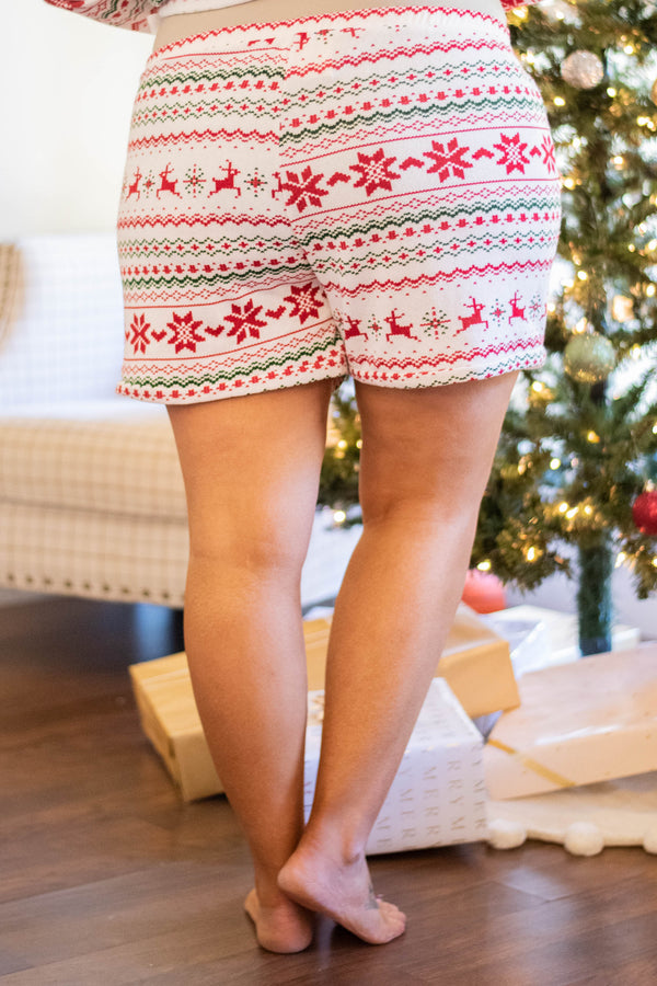 shorts, pockets, drawstring waist, loungewear, white, red, green, chevron, reindeer, poinsettias, christmas, winter, comfy