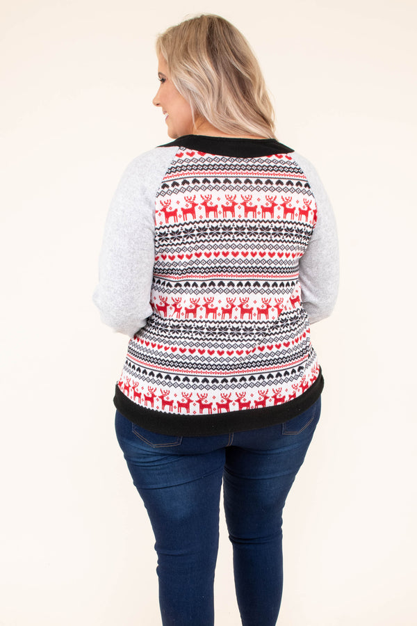 shirt, long sleeve, gray, black, white, red, reindeer print, gray sleeves, comfy, winter