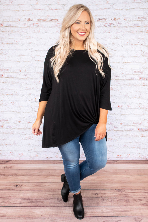 tunic, three quarter sleeve, knotted hem, long, loose, black, comfy