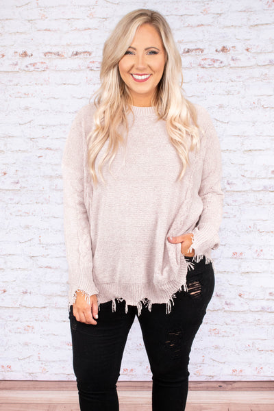 sweater, long sleeves, fringe, distressed, oatmeal, solid, comfy, cozy, fall, winter