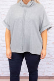 top, tunic, heather gray, short sleeve, cowl neck, comfy, cozy