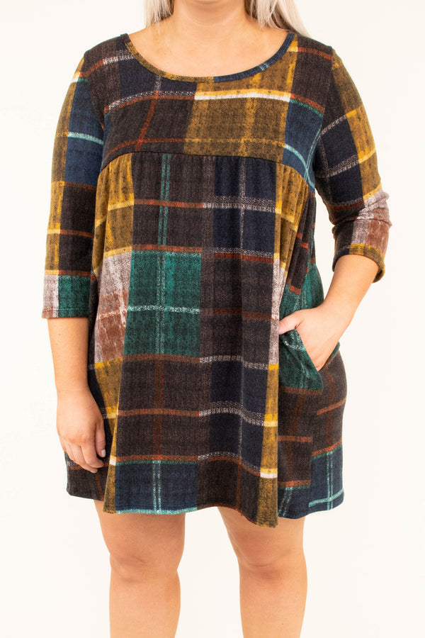 dress, short, three quarter sleeve, pockets, babydoll, mustard, green, brown, plaid, flowy, fall, winter
