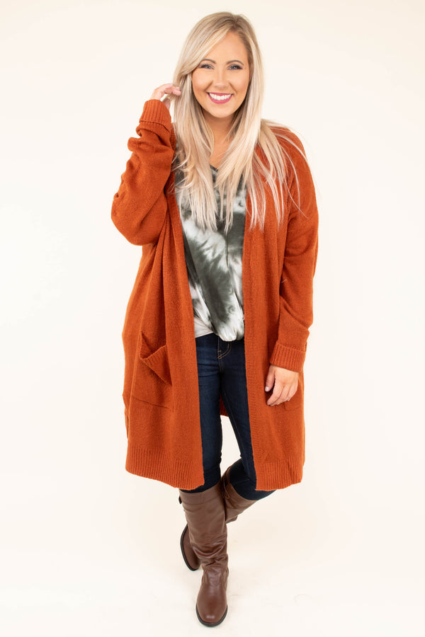 cardigan, long sleeve, long, pockets, rust, solid, comfy, fall, winter