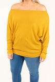 shirt, long sleeve, off the shoulder, waffle knit, loose, mustard, fall, winter