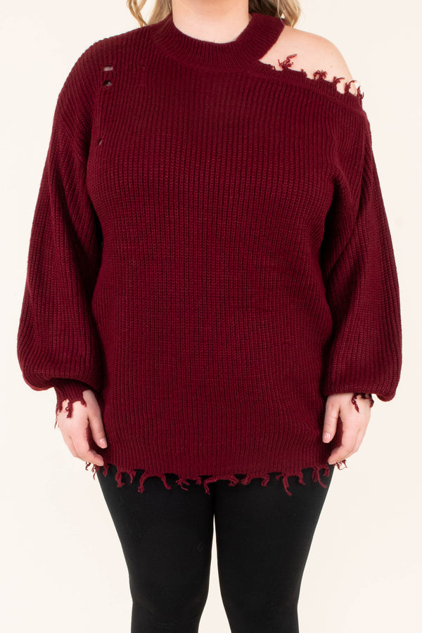 sweater, cold shoulder, long sleeve, bubble sleeves, distressed, frayed, burgundy, comfy, fall, winter