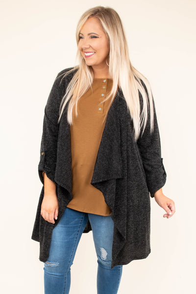 cardigan, three quarter sleeves, buttoned cuff, drapey, flowy, black, solid, long, comfy, fall, winter, outerwear