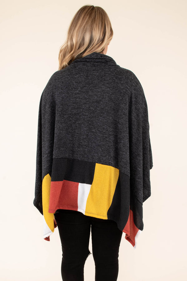 poncho, long sleeve, cowl neck, asymmetrical hem, flowy, long, black, white, orange, yellow, colorblock, outerwear, comfy, fall, winter