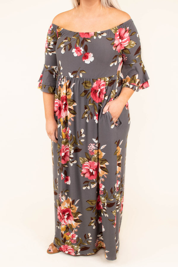 dress, off the shoulder, burgundy, grey, floral print, three quarter sleeve, maxi