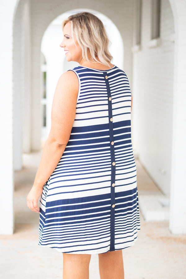 dress, tank top, short, striped, navy, ivory, flowy, pockets