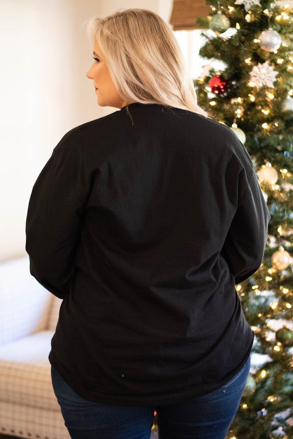 tshirt, long sleeve, curved hem, black, graphic, white, christmas lights, winter, holiday, comfy