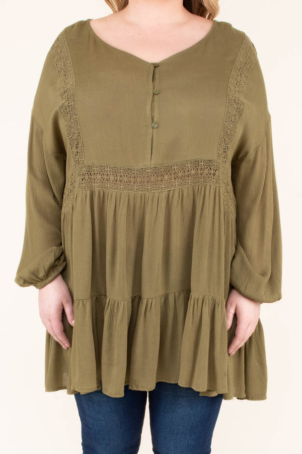 blouse, long sleeve, vneck, bubble sleeve, long, flowy, ruffles, quarter button down, olive, comfy