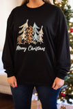 tshirt, long sleeve, black, graphic, green, orange, tan, white, trees, merry christmas, winter, comfy