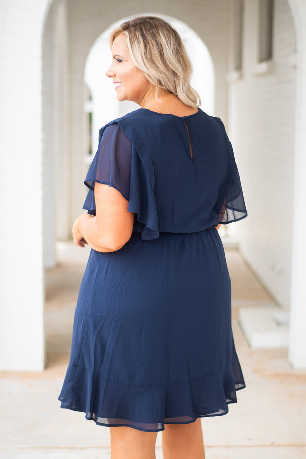 dress, short, short sleeve, tie waist, flowy, navy, solid, airy, sheer sleeves