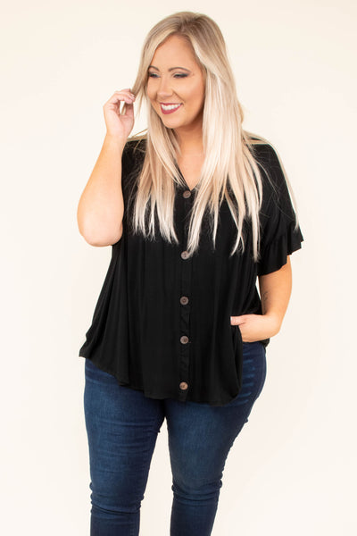 shirt, short sleeve, vneck, button down, ruffle sleeves, black, solid, flowy