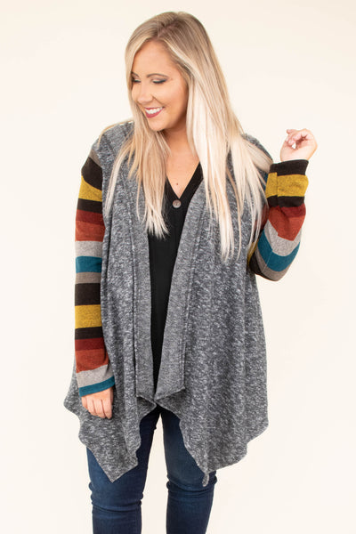 cardigan, long sleeve, asymmetrical hem, hood, gray torso, striped sleeves, brown, mustard, red, orange, teal, comfy, long, flowy, fall, winter