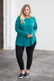 tunic, long sleeve, teal, solid, comfy, loose, curved hem