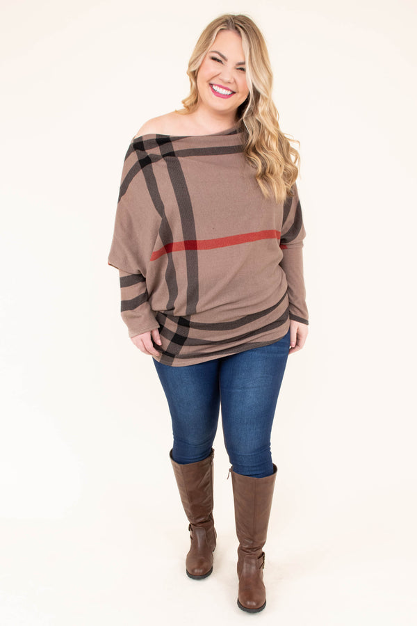 tunic, long sleeve, off the shoulder, drapey, loose, fitted waist, brown, black, red, plaid, comfy, fall, winter