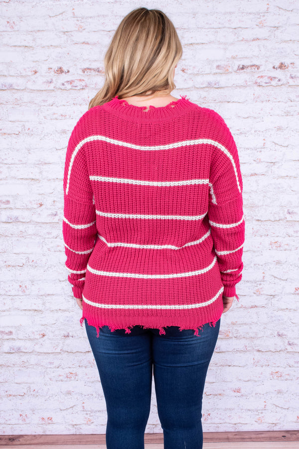sweater, long sleeve, vneck, distressed hems, hot pink, white, striped, comfy, fall, winter