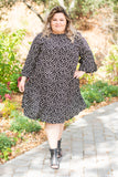 dress, short, three quarter sleeve, bell sleeve, pockets, black, floral, brown, flowy, comfy, fall, winter