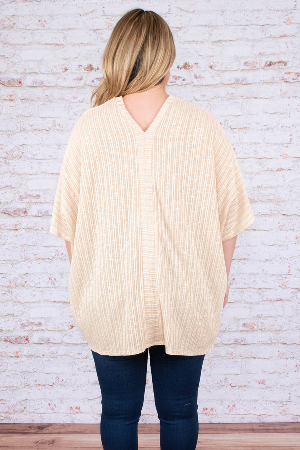 shirt, short sleeve, vneck, buttons, tan, striped fabric, comfy, flowy, longer back
