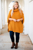 poncho, short sleeve, cowl neck, long, knitted, mustard, comfy, flowy, fall, winter