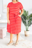 dress, short, short sleeve, stripes, tied waist, red