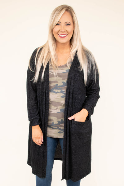 cardigan, long sleeve, long, pockets, flowy, black, comfy, outerwear