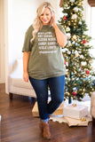 tshirt, short sleeve, graphic, olive, white, words, comfy, winter, christmas